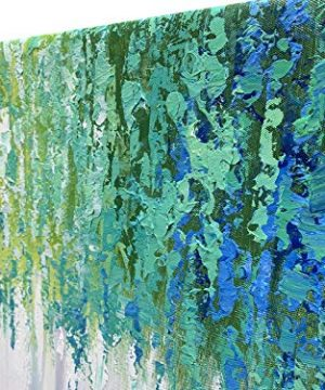 Hand Painted Blue And Green Textured Tree Artwork Abstract Wall Art Modern Landscape Oil Painting On Canvas 0 1 300x360