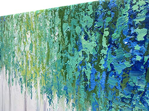 Hand Painted Blue And Green Textured Tree Artwork Abstract Wall Art Modern Landscape Oil Painting On Canvas 0 1