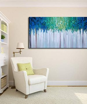 Hand Painted Blue And Green Textured Tree Artwork Abstract Wall Art Modern Landscape Oil Painting On Canvas 0 2 300x360