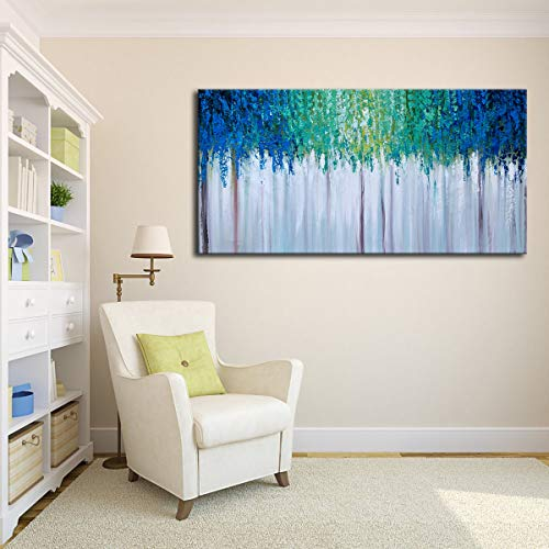 Hand Painted Blue And Green Textured Tree Artwork Abstract Wall Art Modern Landscape Oil Painting On Canvas 0 2