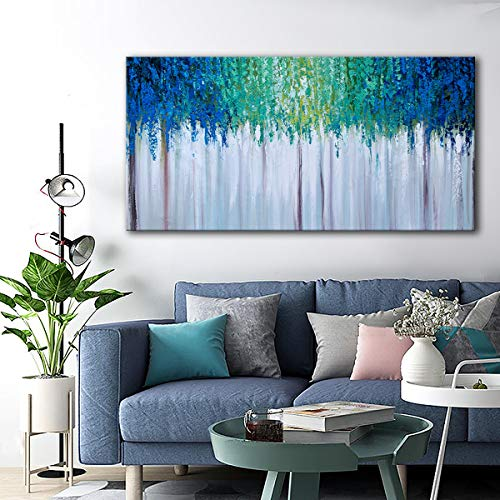 Hand Painted Blue And Green Textured Tree Artwork Abstract Wall Art Modern Landscape Oil Painting On Canvas 0 3