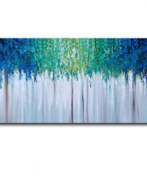 Hand Painted Blue And Green Textured Tree Artwork Abstract Wall Art Modern Landscape Oil Painting On Canvas 0 300x360