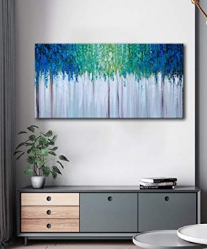 Hand Painted Blue And Green Textured Tree Artwork Abstract Wall Art Modern Landscape Oil Painting On Canvas 0 4 300x360