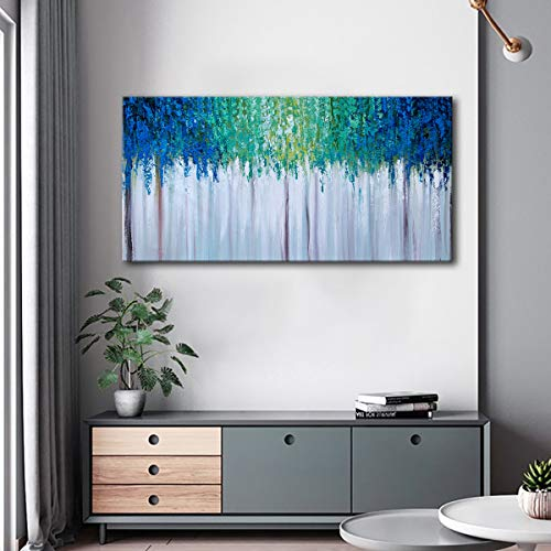 Hand Painted Blue And Green Textured Tree Artwork Abstract Wall Art Modern Landscape Oil Painting On Canvas 0 4