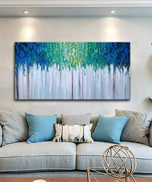 Hand Painted Blue And Green Textured Tree Artwork Abstract Wall Art Modern Landscape Oil Painting On Canvas 0 5 300x360