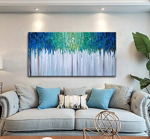 Hand Painted Blue And Green Textured Tree Artwork Abstract Wall Art Modern Landscape Oil Painting On Canvas 0 5