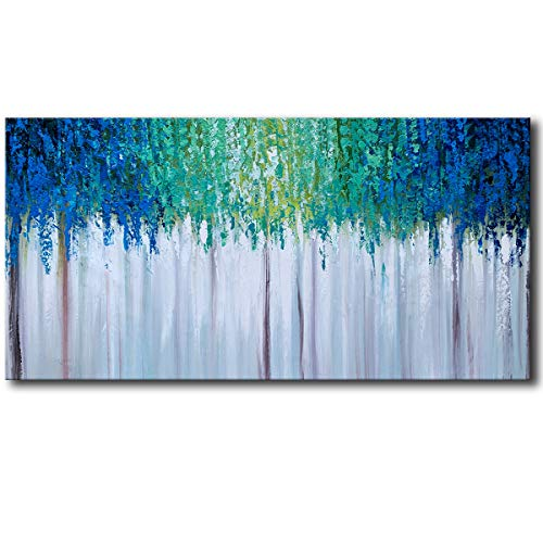 Hand Painted Blue And Green Textured Tree Artwork Abstract Wall Art Modern Landscape Oil Painting On Canvas 0