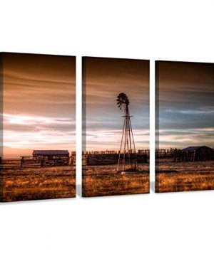 Hardy Gallery Windmill Artwork Rustic Landscape Picture Farmhouse Painting Wall Art Print On Canvas For Bedroom 16 X 26 X 3 Panels 0 300x360