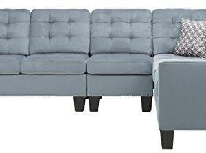 Homelegance Lantana 84 X 107 Fabric Sectional Sofa Gray 0 0 300x222