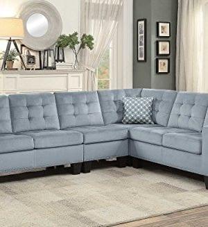 Homelegance Lantana 84 X 107 Fabric Sectional Sofa Gray 0 2 300x327