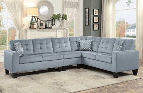 Homelegance Lantana 84 X 107 Fabric Sectional Sofa Gray 0 2