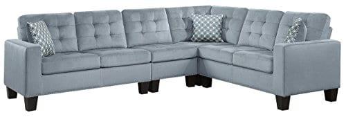 Homelegance Lantana 84 X 107 Fabric Sectional Sofa Gray 0
