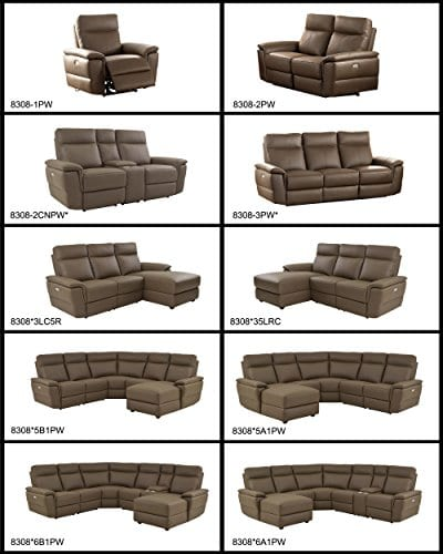 Homelegance Olympia 6 Piece Power Reclining Sectional Sofa With Left Side Chaise USB Port Cup Holder Console Top Grain Leather Match Raisin 0 0