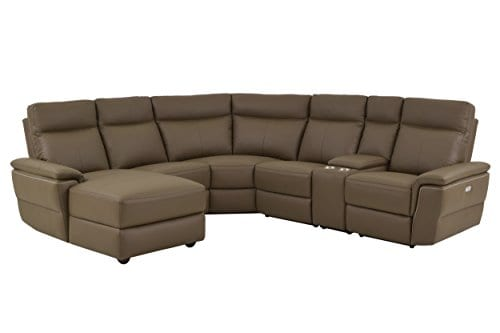 Homelegance Olympia 6 Piece Power Reclining Sectional Sofa With Left Side Chaise USB Port Cup Holder Console Top Grain Leather Match Raisin 0