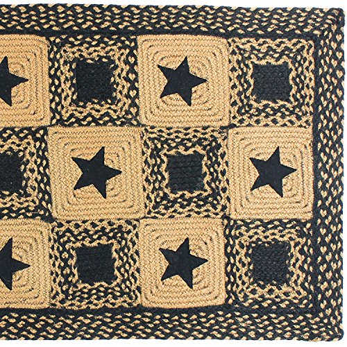 IHF Home Decor 5 X 8 Feet Rectangle Braided Floor Carpet Accent Rug Country Star Black Design Jute Fabric Tan Black 0 2