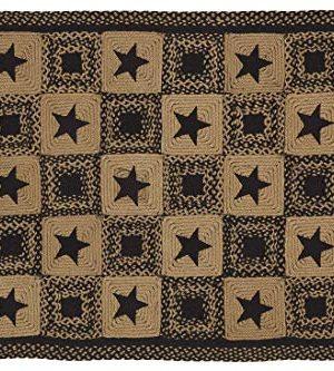 IHF Home Decor 5 X 8 Feet Rectangle Braided Floor Carpet Accent Rug Country Star Black Design Jute Fabric Tan Black 0 300x333