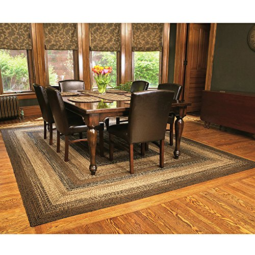 IHF Home Decor Braided Rug Cappuccino Design Rectangle Area Rug Jute Fiber 5 X 8 0