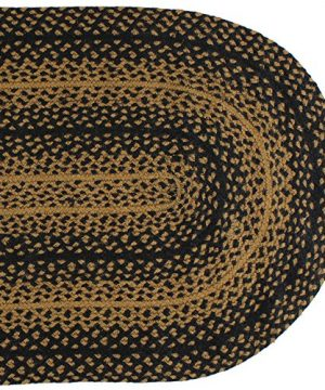 IHF Home Decor Ebony Braided Rug 20 X 30 To 8x10 Oval Accent Floor Carpet Natural Jute Material Doormat Black Tan Woven Collection 5x8 0 300x360