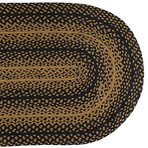 IHF Home Decor Ebony Braided Rug 20 X 30 To 8x10 Oval Accent Floor Carpet Natural Jute Material Doormat Black Tan Woven Collection 5x8 0