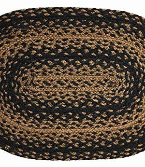 IHF Home Decor Ebony Braided Rug 20 X 30 To 8x10 Oval Accent Floor Carpet Natural Jute Material Doormat Black Tan Woven Collection 6x9 0 300x346