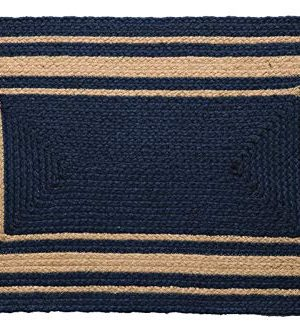 IHF Home Decor Heritage Blue Braided Area Rug Rectangle Jute Fabric Mat Blue Tan 20x30 6x9 0 300x331
