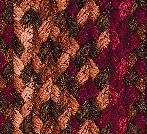 IHF Home Decor Jute Braided Rug Cinnamon Design Rectangle Accent Indoor Outdoor Floor Carpet Wine Sage Tan Hand Woven Reversible Natural Fiber 5 X 8 0 2