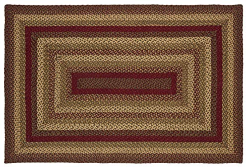 IHF Home Decor Jute Braided Rug Cinnamon Design Rectangle Accent Indoor Outdoor Floor Carpet Wine Sage Tan Hand Woven Reversible Natural Fiber 5 X 8 0