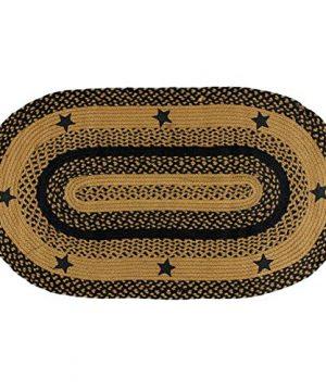 IHF Home Decor Star Black Oval Jute Braided Area Rug Floor Carpet 5 X 8 Feet 0 300x360