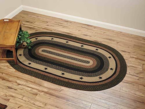 IHF Home Decor Tartan Star Oval Jute Braided Area Rug Floor Carpet 5 X 8 Feet 0 0
