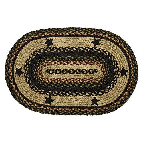 IHF Home Decor Tartan Star Oval Jute Braided Area Rug Floor Carpet 5 X 8 Feet 0