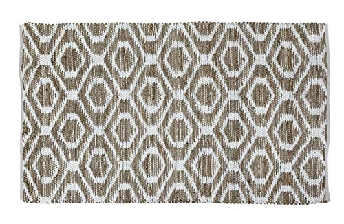 Jute Cotton Rug 3x5 Reversible Hand Woven Farmhouse Vintage Natural White RugKitchen Rugs Farmhouse Rugs Rugs For Living BedroomWoven Rugs 0 1
