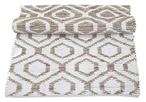 Jute Cotton Rug 3x5 Reversible Hand Woven Farmhouse Vintage Natural White RugKitchen Rugs Farmhouse Rugs Rugs For Living BedroomWoven Rugs 0