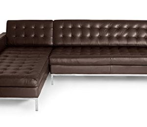 Kardiel Florence Knoll Style Sofa Sectional Left Choco Brown 100 Full Premium Leather 0 1 300x260