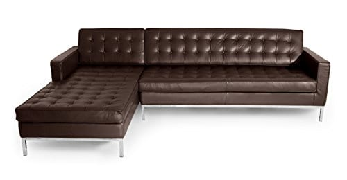 Kardiel Florence Knoll Style Sofa Sectional Left Choco Brown 100 Full Premium Leather 0 1