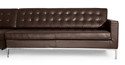 Kardiel Florence Knoll Style Sofa Sectional Left Choco Brown 100 Full Premium Leather 0 3