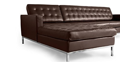 Kardiel Florence Knoll Style Sofa Sectional Left Choco Brown 100 Full Premium Leather 0 4