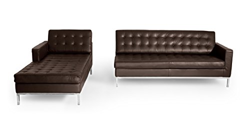 Kardiel Florence Knoll Style Sofa Sectional Left Choco Brown 100 Full Premium Leather 0 5