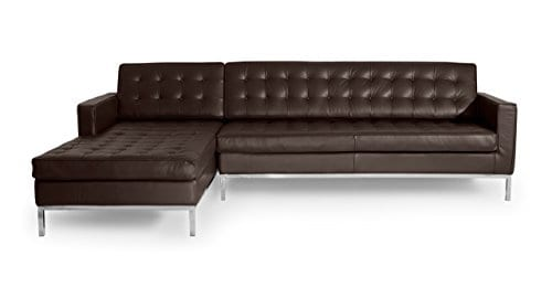 Kardiel Florence Knoll Style Sofa Sectional Left Choco Brown 100 Full Premium Leather 0