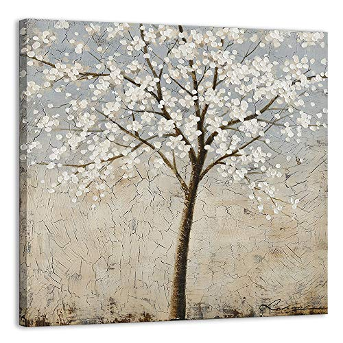 Kas Home Art Canvas Wall Art Blooming White Flower Tree Abstract Framed Art Stretched Canvas Painting Modern Wall Decor Ready To Hang 24 X 24 Inch A Framed 0 0