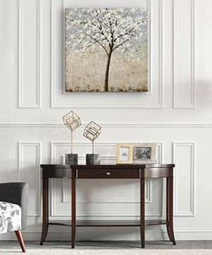 Kas Home Art Canvas Wall Art Blooming White Flower Tree Abstract Framed Art Stretched Canvas Painting Modern Wall Decor Ready To Hang 24 X 24 Inch A Framed 0 1 300x360