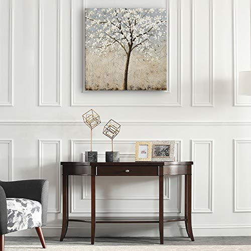 Kas Home Art Canvas Wall Art Blooming White Flower Tree Abstract Framed Art Stretched Canvas Painting Modern Wall Decor Ready To Hang 24 X 24 Inch A Framed 0 1
