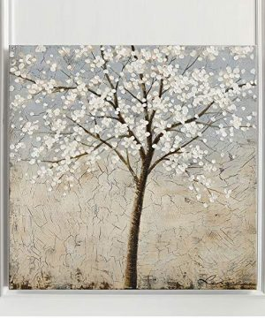 Kas Home Art Canvas Wall Art Blooming White Flower Tree Abstract Framed Art Stretched Canvas Painting Modern Wall Decor Ready To Hang 24 X 24 Inch A Framed 0 2 300x360