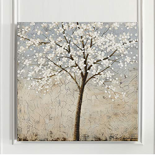 Kas Home Art Canvas Wall Art Blooming White Flower Tree Abstract Framed Art Stretched Canvas Painting Modern Wall Decor Ready To Hang 24 X 24 Inch A Framed 0 2