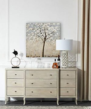 Kas Home Art Canvas Wall Art Blooming White Flower Tree Abstract Framed Art Stretched Canvas Painting Modern Wall Decor Ready To Hang 24 X 24 Inch A Framed 0 3 300x360