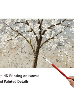 Kas Home Art Canvas Wall Art Blooming White Flower Tree Abstract Framed Art Stretched Canvas Painting Modern Wall Decor Ready To Hang 24 X 24 Inch A Framed 0 4 300x360
