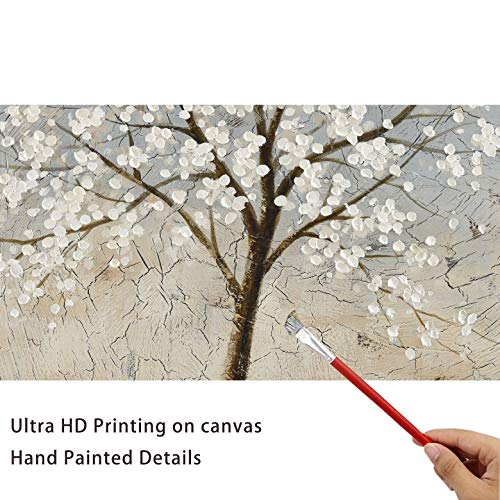 Kas Home Art Canvas Wall Art Blooming White Flower Tree Abstract Framed Art Stretched Canvas Painting Modern Wall Decor Ready To Hang 24 X 24 Inch A Framed 0 4