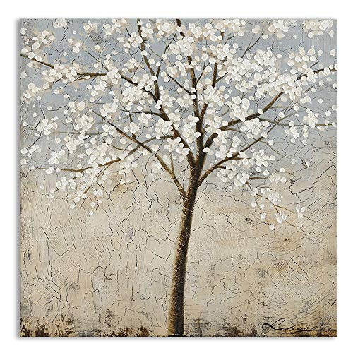 Kas Home Art Canvas Wall Art Blooming White Flower Tree Abstract Framed Art Stretched Canvas Painting Modern Wall Decor Ready To Hang 24 X 24 Inch A Framed 0