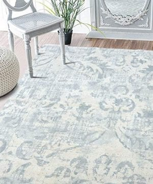 Lahome Damask Area Rug 3 X 5 Faux Wool Non Slip Area Rug Accent Distressed Throw Rugs Floor Carpet For Living Room Bedrooms Laundry Room Decor 3 X 5 Gray 0 300x360