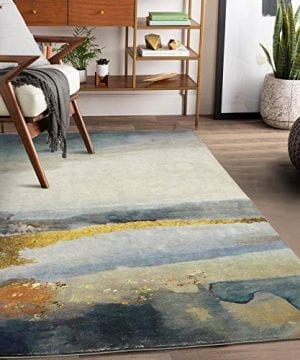 Lahome Modern Abstract Area Rug 3 X 5 Non Slip Distressed Area Rug Small Accent Throw Rugs Floor Carpet For Door Mat Entryway Bedrooms Laundry Room Decor 3 X 5 BlueGray 0 300x360