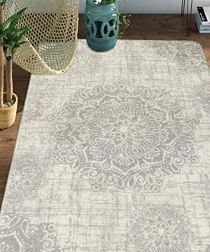 Lahome Vintage Medallion Area Rug 3 X 5 Faux Wool Non Slip Area Rug Accent Distressed Throw Rugs Floor Carpet For Living Room Bedrooms Laundry Room Decor 3 X 5 Gray 0 300x360